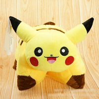 Wholesale pokemon toy balls - 45 cm Poke Ball Pikachu Plush dolls fold Pillow Free EMS children Pikachu Charmander Jeni turtle Poke Ball Plush dolls toys B001