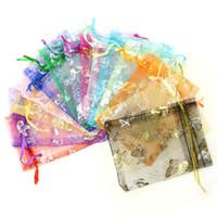 bolsas de almacenamiento de tela zip al por mayor-100 unids / bolsa, Selección 13 colores Bolsa de joyería 7x9cm Organza Joyería Embalaje Exhibición Joyería Bolsas 2020 venta caliente