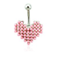 Brand New Belly Button Anneaux 316L Acier inoxydable Barbells Pink Pearl Heart Navel Bijoux Piercing
