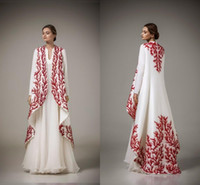 Wholesale Embroidery Dresses For Evening - Evening dresses 2017 traditional abayas for muslim high neck a line white chiffon red embroidery arabic evening gowns with coat WE58