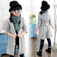 Wholesale Trench Coats For Girls Kids - 5 -15 Years Girls Cardigans 2016 Teenage Girls Fashion Trench Coat For Girls Autumn Wear Sweater Kids Teen