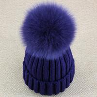 kürk top şapka toptan satış-Toptan-Gerçek Tilki Kürk Pom Pom Kadınlar Beanie Şapka Şapka Ponpon Topu Ile Gerçek Rakun Kürk Ponpon Örgü Bobble Şapka Çift Kayak Kap