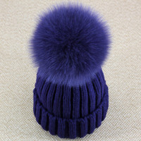 Wholesale Blue Silver Fox - Wholesale-Real Fox Fur Pom Pom Women Beanie Hat Mink Fur Hat With Pompom Ball Real Raccoon Fur Pompon Knit Bobble Hat Couple Ski Cap