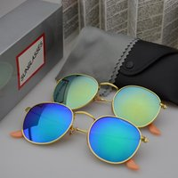 Wholesale round blue lens sunglasses resale online - Round Metal Sunglasses Designer Eyewear Gold Flash Glass Lens For Mens Womens Mirror Sunglasses Round unisex sun glasse with cases and box