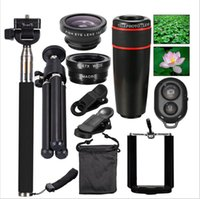 Lens   For iphone lens kit telephoto lens 10 in 1 set 8X Fish Eye Wide Angle Macro Lens Selfie stick Mini Tripod