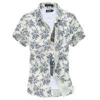 Wholesale Hawaii Men S Fashion - Wholesale-Men's Fashion Hawaii shirt Flora printed Short Sleeve Shirt camisa masculina Men Plus Size Floral Casual Shirts chemise homme