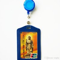 Wholesale Cheap Id Holders - Cheap Bank Credit Card Holders PU Card Bus ID Holders Identity Badge with Retractable Reel wholesale H210484