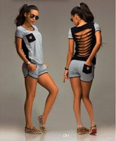 Wholesale Sport Short Pants For Women - Tracksuit Women 2016 Sport Suit Set Summer Casual Runing Sweat Suits Womens Sweatshirt + Pants 2 Pieces Jogging Suits For Women