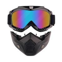 coussinets pour lunettes achat en gros de-Les lunettes de moto de style de Harley avec le masque démontable, lunettes de soleil de casque protègent le remplissage, lunettes de moto UV d'équitation de route