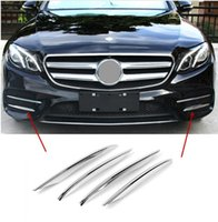 Wholesale Chrome Trim For Cars - For Mercedes Benz E class W213 2016-17 Chrome ABS Front Fog Lamp frame decoration Cover trim decals 3D Stickers Car Styling
