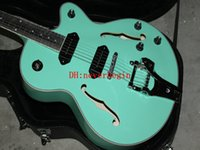 guitare électrique corps creux vert achat en gros de-Top Qualité Personnalisé Vert Semi Creux Corps Jazz Guitare Électrique Avec Tremolo P90 ramassage Livraison Gratuite
