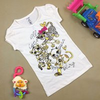 Wholesale Wholesale Horse T Shirts - Summer fashion girl short sleeve T shirt top lovely girl horse pattern T-shirt 100% cotton Tees t-shirt gray colors