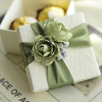 Wholesale Wedding Candy Roses - 10Pcs Elegant White Candy Box With Ribbon and Rose Wedding Gift Favor Boxes Colors for Select