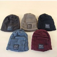 Wholesale Wholesale Price Winter Hat - Men Winter Season Knitted Hat NC Plus Thicken Warm Inside Beanie Skull Caps 5 Colors Wholesale Price