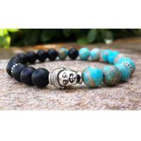 ingrosso blu di jasper-Mens Buddha Mala Bracciale, Blue Sea Magnesite Jasper Black Onyx Bohemian Buddista preghiera Meditazione Wrist Wrist Mala Men Bracelet