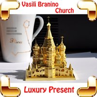 Wholesale Decorations For Church - New Year Gift Vasili Branino Cathedral 3D Metal Model Building Toy Church Building DIY Alloy Puzzle Decoration Toys For Kids