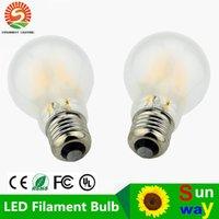 Wholesale Edison E26 Base - Dimmable 2W 4W 6W 8W LED Filament Lamp Vintage Edison A60 Matte Style Warm White 2700K 110V 220VAC E26 E27 Medium Base