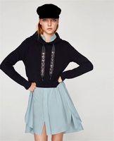 Wholesale Top Hat Beads - Women Sports jacket loose sweater Luxury famous fashion brand top quality Long-sleeved bead Diamond belt drawstring Punk hat sweater