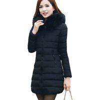 Wholesale coats woman down sale - Wholesale-2016 New Fashion Winter Women Thick Casual Down Cotton Parka Long Fur Collar Hooded Coat Jacket Plus Size 5XL Hot sale ZY734