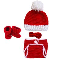 Wholesale crochet booties hat sets for sale - Group buy Crochet Baby Christmas Outfit Handmade Knit Baby Boy Girl Pompom Santa Hat Diaper Cover Booties Bow Tie Set Infant Newborn Xmans Photo Prop