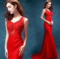 Wholesale Hand Made Chinese Dress - Cheap 2016 Red Mermaid Lace Evening Dresses V Neck Beads Appliqued Long Chinese Evening Dress Cheongsam Party Dress Gown