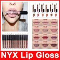 Wholesale nyx lip lingerie resale online - NYX lip lingerie liquid Matte Lip Cream Lipstick NYX Charming Long lasting Waterproof Lip Gloss Makeup Colors DHL free