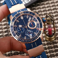 Wholesale Marine Stainless Watch - Famous Brand Luxury UN Men auto date Watches Ulysse Marine Rose Gold Stainelss Blue Face Rubber Strap Date Modern Mens quartz Wristwatch