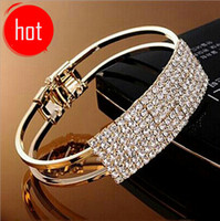 Wholesale Wholesale Sterling Silver Bangles - Korean jewelry wholesale Korean fashion elegant 18K gold-plated rectangular Starry Full Of Diamond Bangles bracelet accessories
