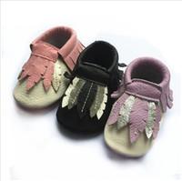 Wholesale Zig Zag Shoes - 33styles Baby soft sole shoes hot sale zig zag black white design Leather baby moccasins Baby leopard Moccs Free Fedex UPS