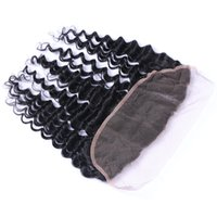 Wholesale Bleached Knots Closure Density - 130% density lace frontal hair pieces 8a brazilian deep wave virgin human hair 13X4 ear to ear lace frontal closure baby hair&bleached knots