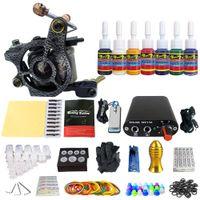 Wholesale Tips 48 - Solong Tattoo New Beginner 1 Pro Machine Gun Tattoo Kit Power Supply Needle Grips tip 7 color ink set TK105-48