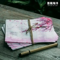 Wholesale Cherry Blossom Papers - fashionable pink Japan cherry sakura blossom painting design artificial parchment paper envelope (size for post card)