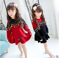 Wholesale Autum Children - Children dresses girls colorful tassel contrast color dress kids long sleeve round collar falbala princess dress kids autum clothing T0332