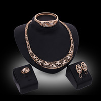 Wholesale royal necklaces jewelry - Necklace Earrings Bangle Ring Jewelry Set Vintage Royal Rhinestone 18K Gold Plated Wedding Jewelry 4-Piece Set Wholesale Drop Shipping JS197