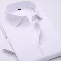 manschettenknopfkleidhemden für männer großhandel-2016 sommer neue männer kurzhülse shirts formelle kleidung einfarbig business shirts männer schlank französisch manschettenknopf dress shirts