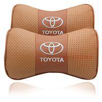 Wholesale Yaris Cover Seat - 2 X Genuine Leather Car Headrest Pillow Neck Rest Pillow Seat Cushion Covers for Toyota Prado Corolla Yaris Rav4 Camry Pilot