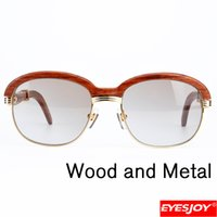Wholesale Copper Legs - Sunglasses for Men Retro Classic Wood Legs Metal Frame Brand Designer Sunglasses High Quality Original Sun Glasses Case and Cloth