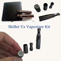 Wholesale V2 Cigs - Top Skillet V2 Vaporizer Kit @Puffco pro Dual Quartz Rod Ceramic chamber Donut Coils Wax Dry herb atomizer clone herbal vapor pen cigs TZ695