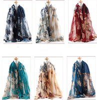 Wholesale Cotton Scarves China - 2016 New Hitom China rose Printed voile Scarf Women fashion Shawls Wraps Wholesale and retail 6 Color optional 180*90cm