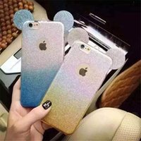 Wholesale Cell Phone Bling Stickers - Cell Phone Cases Mickey Minnie Mouse Ears bling Glitter Sticker Flash Gradient Color TPU Cover Case for iphone samsung xiaomi oppo mix model