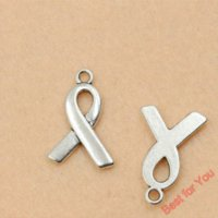 80pcs Antique Silver Tone Breast Cancer Ribbon Charms Pingentes Moda Jóias DIY Jóias Making Handmade 23x15mm