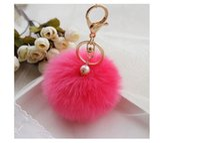 Wholesale Ivory Pearls Chain - Lanway Gold Rabbit Fur Ball Keychain fur pom pom Keychain fur keyring porte clef llaveros Pearl Key Chain For Bag Charm navidad regalos