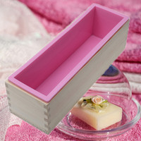 Wholesale Process Soap - Rectangle Handmade Silicone Soap Loaf Mold Wooden Box Homemade Swirl Cold Process DIY Soap Flexible DIY Making Tools 1200g NB