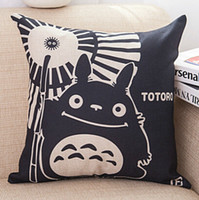 Coton Linge Sofa Throw Pillow Cushion Cover Print Black Cartoon Totoro Carré Coussins de voiture Case Home Decor Textiles Cadeau d'anniversaire 18
