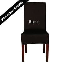 2PC / Lot Wedding Decoration Hotel Chaircovers Poliéster Spandex Plain Dyed Dining Chair Cover Universal Lycra Vantage Home Chair Seat Covers