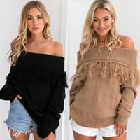 Wholesale Winner Woman - 2017081802 New autumn winner pullovers women slash neck tassel sweater sexy long sleeve tops