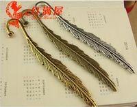 Wholesale Tibetan Metal Bookmarks - A2262 80*13MM antique bronze feather bookmark, DIY jewelry accessories wholesale tibetan ancient silver brass copper zinc alloy bookmark