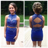 Wholesale Lace White Backless Mini Dress - Royal Blue Tight Homecoming Dresses Two Piece Modest Prom Dresses Sleeveless Backless Mini Cocktail Dresses Beaded Party Dresses