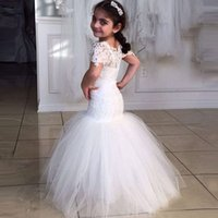 Wholesale Short Tight Wedding Dresses - Mermaid Flower Girl Dresses with Sleeves Lace Tight Bodice Puffy Tulle Skirt Bateau Neck Kids Beauty Pageant Dresses