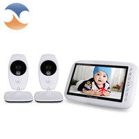 Wholesale Music Video Set - Wholesale- 7.0 inch 2.4GHz Wireless Video Baby Monitor TFT LCD 2 Camera with Infrared Night Vision security baby camera set